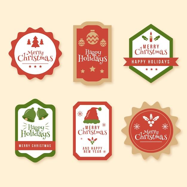 Collection D'étiquettes De Noël Vintage Vecteur gratuit
