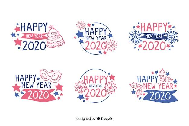 Collection d'étiquettes de nouvel an 2020 dessinées à la main Vecteur gratuit