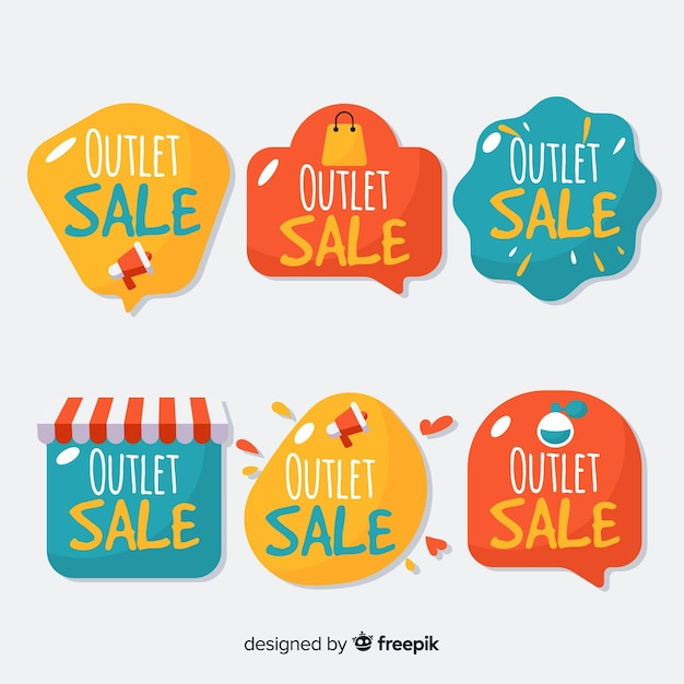 Collection d'étiquettes outlet Vecteur gratuit