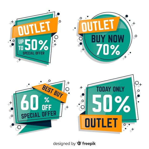 Collection d'étiquettes outlet Vecteur gratuit
