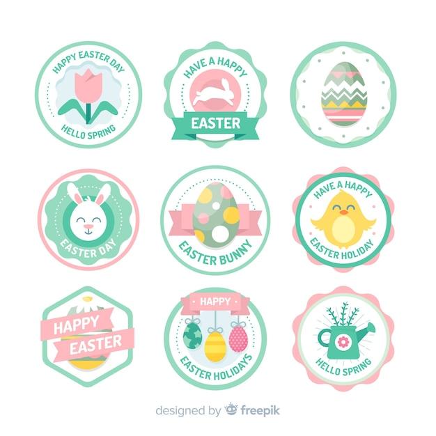 Collection d'étiquettes de pâques Vecteur gratuit