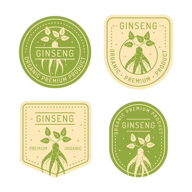Collection D'étiquettes De Pot De Ginseng Vecteur Premium