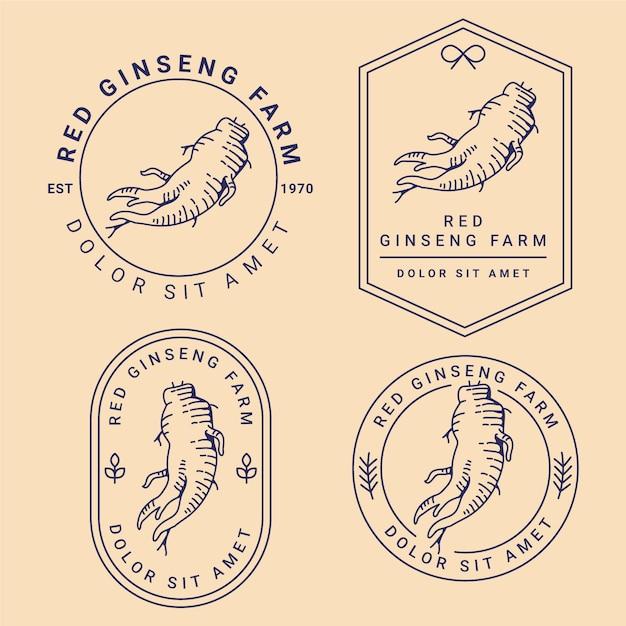 Collection D'étiquettes De Pot De Ginseng Vecteur gratuit