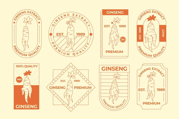 Collection D'étiquettes De Pot De Ginseng Vecteur gratuit
