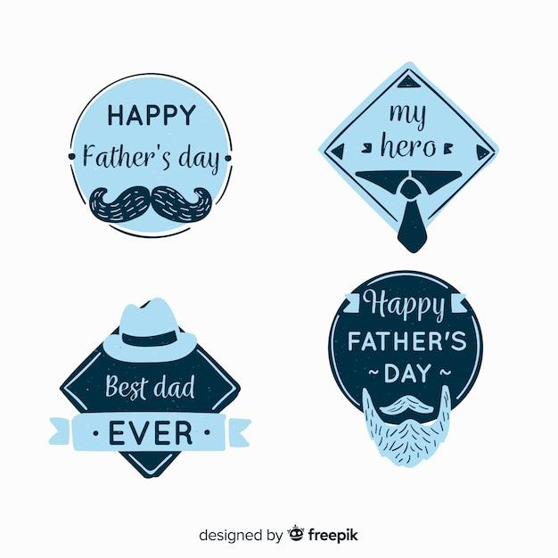 Collection d'étiquettes pour la fête des pères Vecteur gratuit