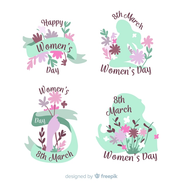 Collection d'étiquettes pour la journée des femmes Vecteur gratuit
