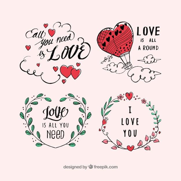 Collection D'étiquettes Pour La Saint-valentin Vecteur gratuit