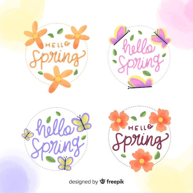 Collection étiquettes De Printemps Fleurs Et Papillons Vecteur gratuit