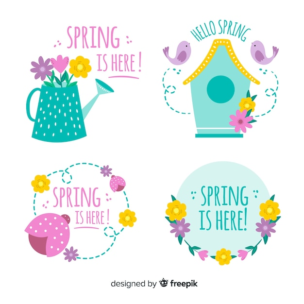 Collection d'étiquettes de printemps Vecteur gratuit