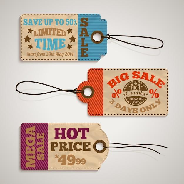 Collection d'étiquettes de prix de vente en carton Vecteur gratuit