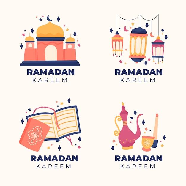 Collection D'étiquettes De Ramadan Dessinés à La Main Vecteur gratuit