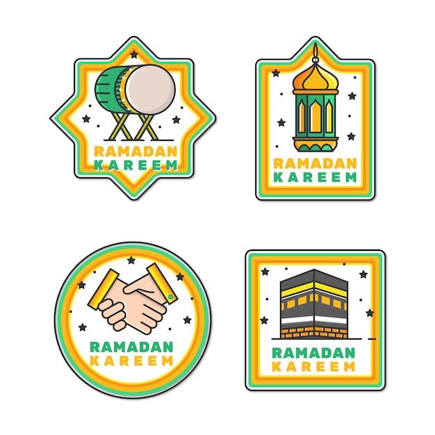 Collection D'étiquettes De Ramadan Plat Vecteur gratuit