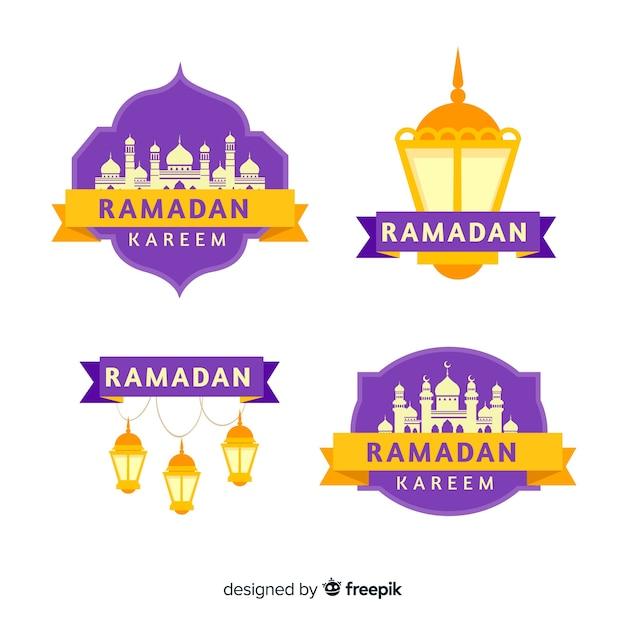 Collection d'étiquettes ramadan Vecteur gratuit