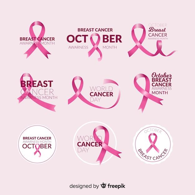 Collection d'étiquettes réalistes de sensibilisation au cancer du sein Vecteur gratuit