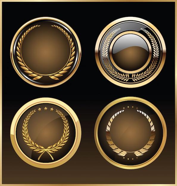 Collection d'étiquettes rétro doré de qualité supérieure Vecteur Premium