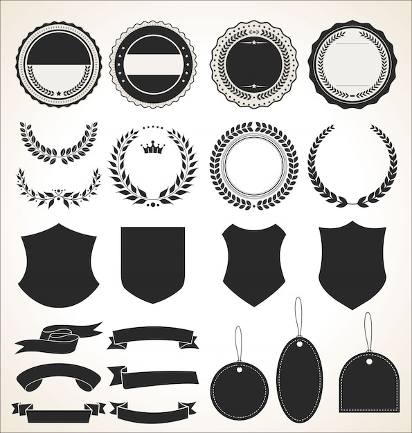 Une collection d'étiquettes et de rubans Vecteur Premium