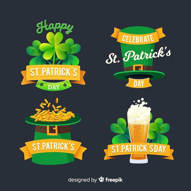 Collection d'étiquettes de la saint patrick Vecteur gratuit