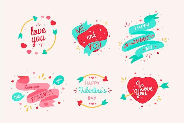 Collection d'étiquettes de saint valentin au design plat Vecteur gratuit