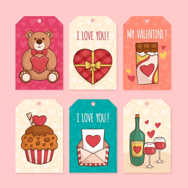 Collection d'étiquettes de saint valentin dessinées à la main Vecteur gratuit