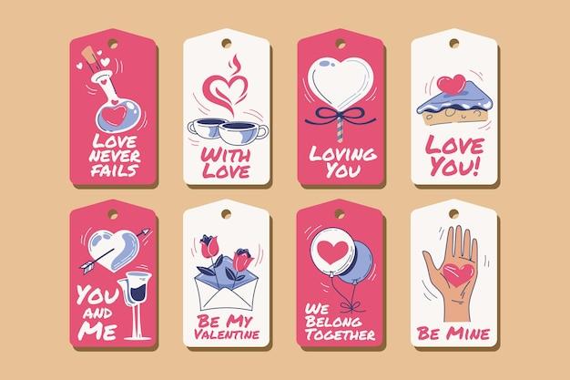 Collection D'étiquettes De La Saint-valentin Dessinés à La Main Vecteur gratuit