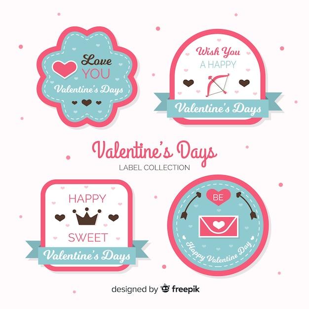 Collection d'étiquettes de saint valentin Vecteur gratuit