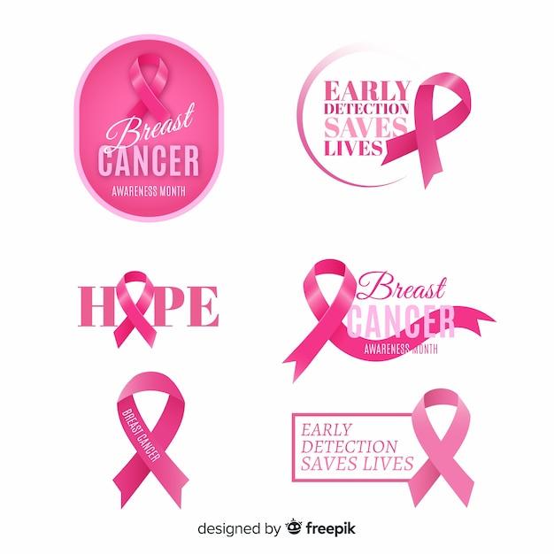 Collection d'étiquettes de sensibilisation à la journée internationale du cancer du sein Vecteur gratuit