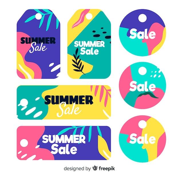Collection d'étiquettes de soldes d'été Vecteur gratuit