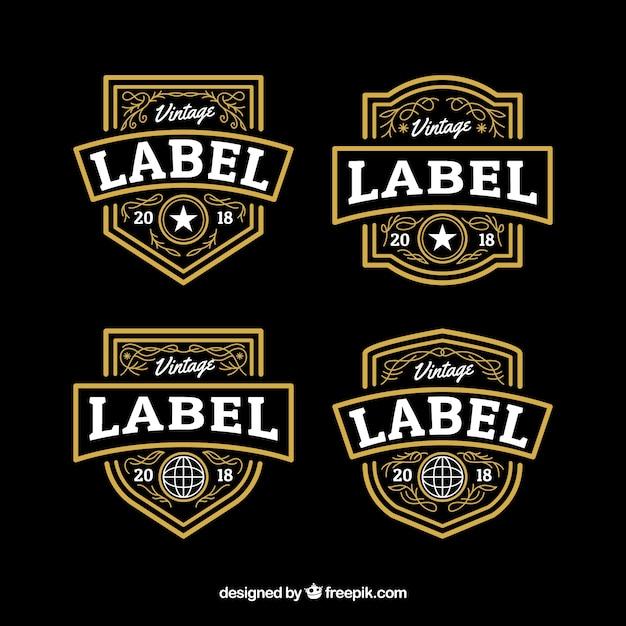 Collection d'étiquettes avec style vintage Vecteur gratuit