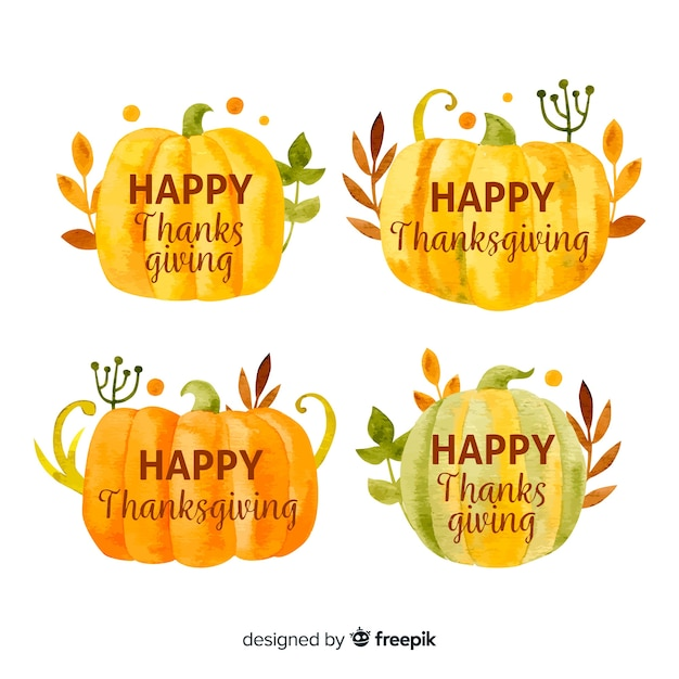 Collection d'étiquettes de thanksgiving aquarelle Vecteur gratuit