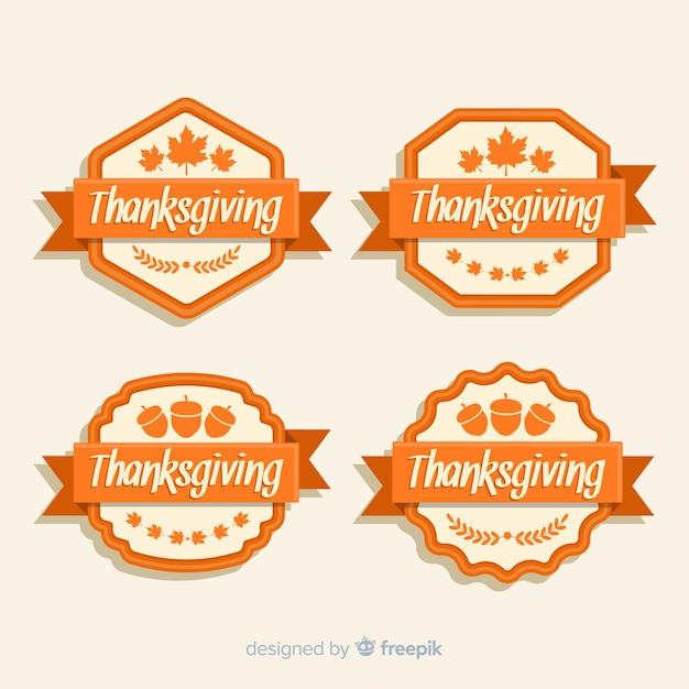 Collection D'étiquettes De Thanksgiving De Conception Plate Vecteur gratuit