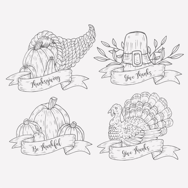 Collection D'étiquettes De Thanksgiving Dessinées à La Main Vecteur gratuit