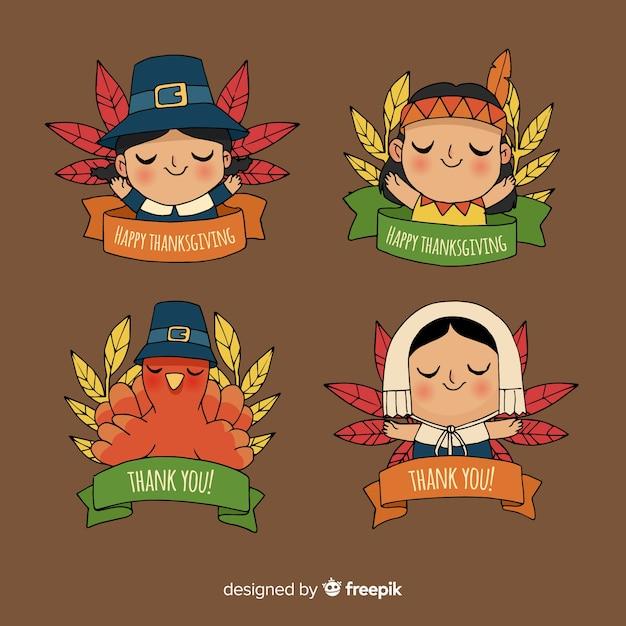 Collection d'étiquettes de thanksgiving en style dessiné à la main Vecteur gratuit