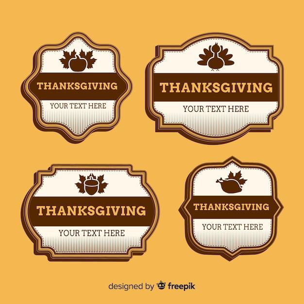 Collection d'étiquettes de thanksgiving vintage Vecteur gratuit