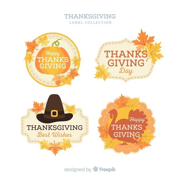 Collection d'étiquettes de thanksgiving Vecteur gratuit