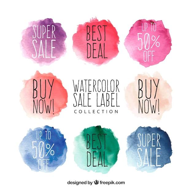 Collection d'étiquettes de vente aquarelle Vecteur gratuit