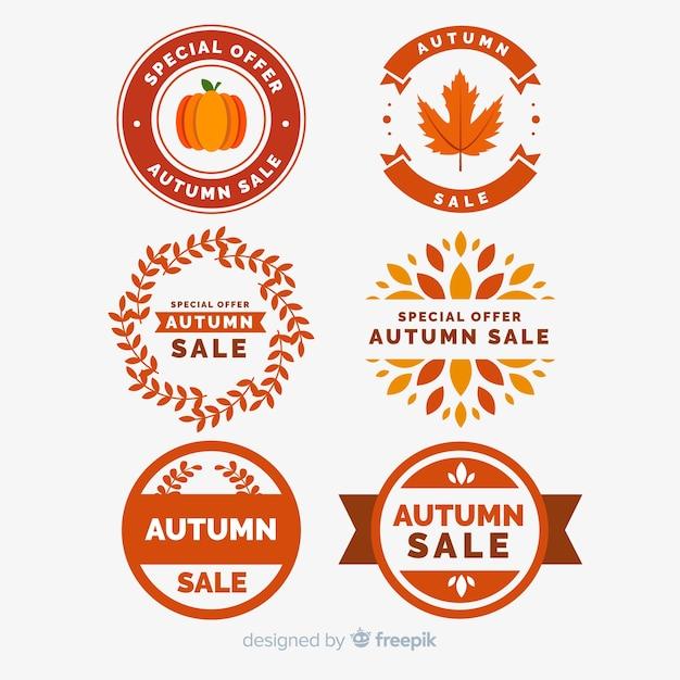 Collection d'étiquettes de vente d'automne Vecteur gratuit