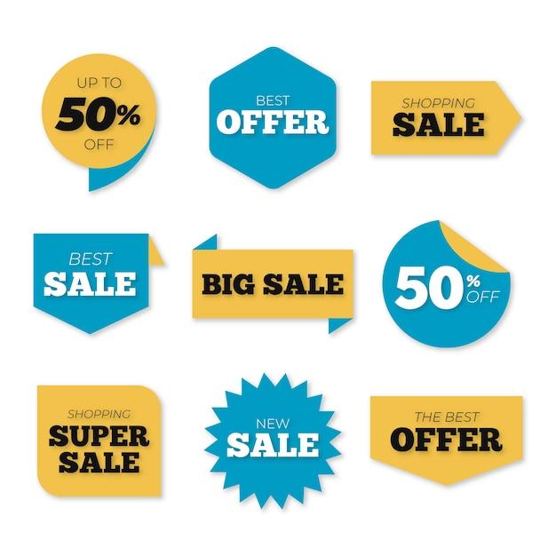 Collection d'étiquettes de vente colorées Vecteur gratuit