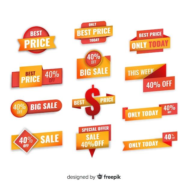 Collection d'étiquettes de vente dégradées Vecteur gratuit