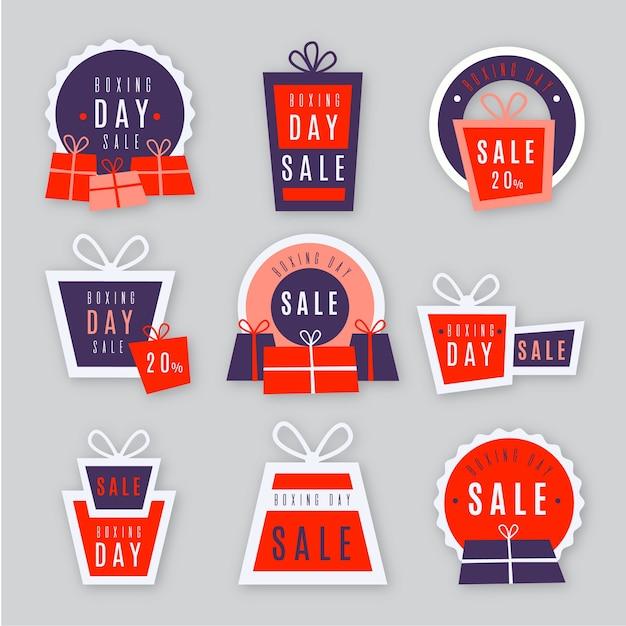 Collection d'étiquettes de vente design boxing day design plat Vecteur gratuit