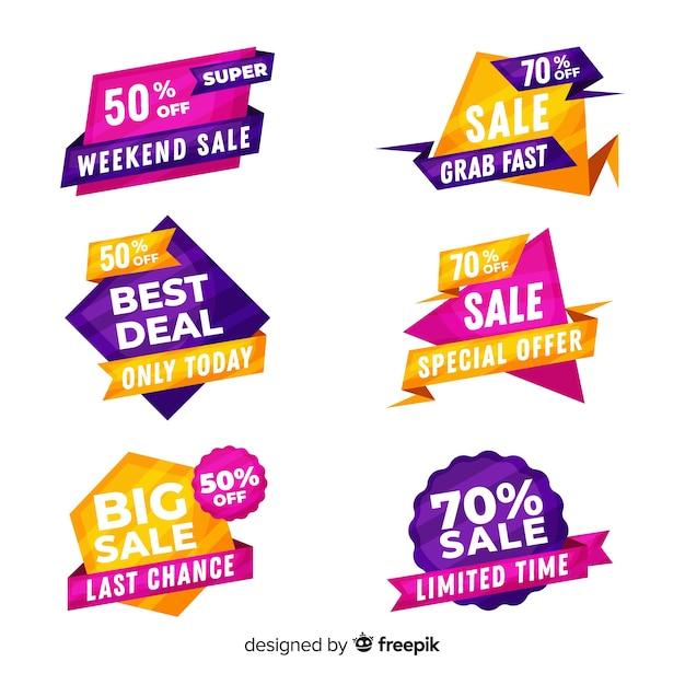 Collection d'étiquettes de vente design plat Vecteur gratuit