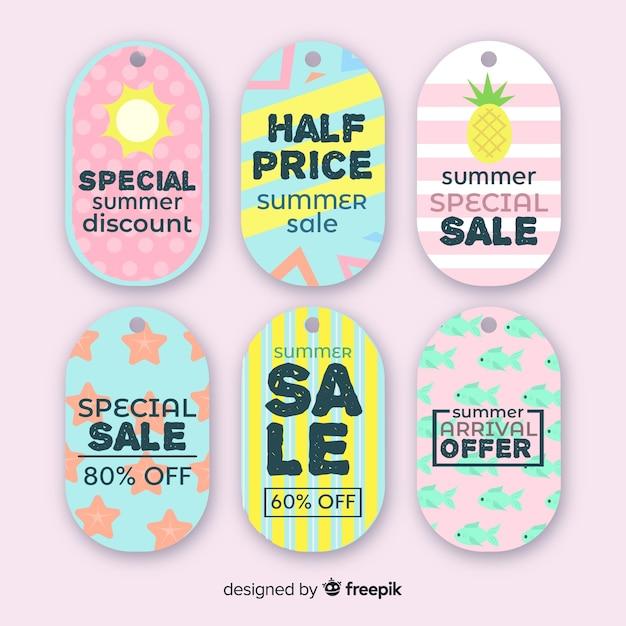 Collection d'étiquettes de vente d'été coloré Vecteur gratuit