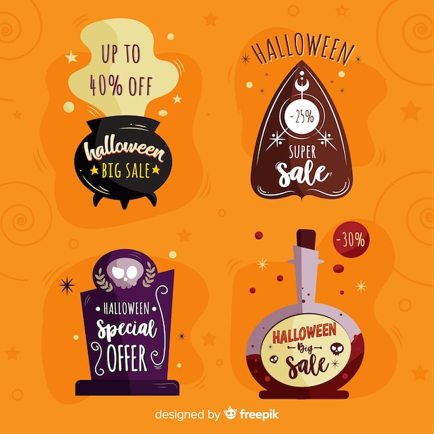 Collection d'étiquettes de vente halloween dessinés à la main Vecteur gratuit