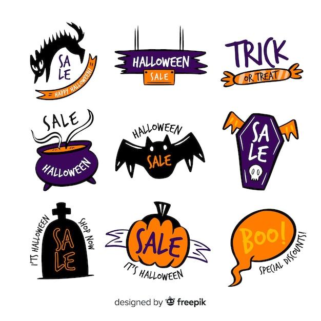 Collection d'étiquettes de vente halloween dessinés à la main Vecteur gratuit