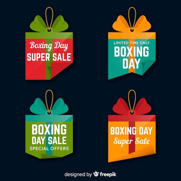 Collection d'étiquettes de vente le jour de la boxe Vecteur gratuit