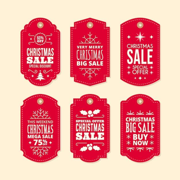 Collection D'étiquettes De Vente De Noël Au Design Plat Vecteur gratuit