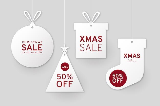 Collection D'étiquettes De Vente De Noël Dans Un Style Papier Vecteur gratuit