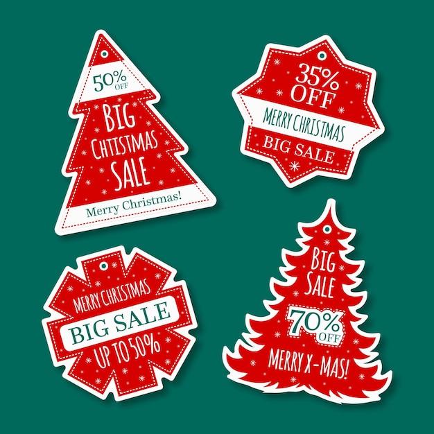 Collection D'étiquettes De Vente De Noël Design Plat Vecteur gratuit