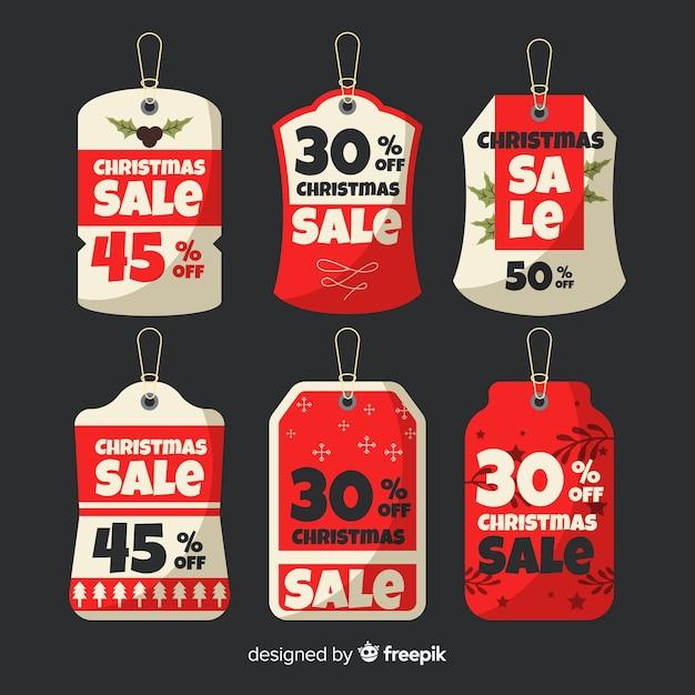 Collection d'étiquettes de vente de noël Vecteur gratuit