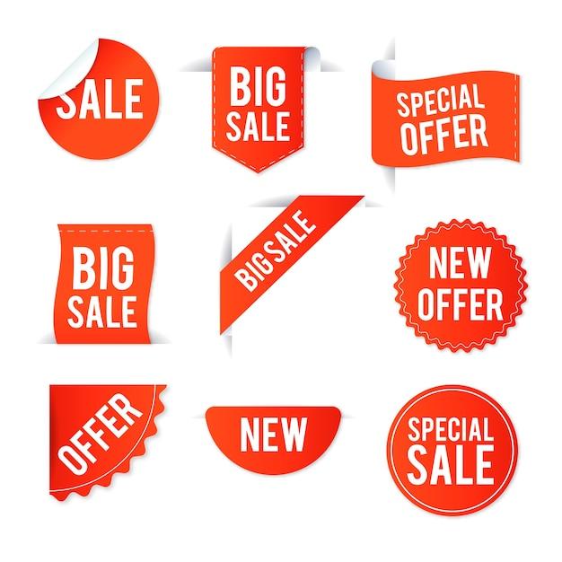 Collection d'étiquettes de vente réalistes Vecteur gratuit