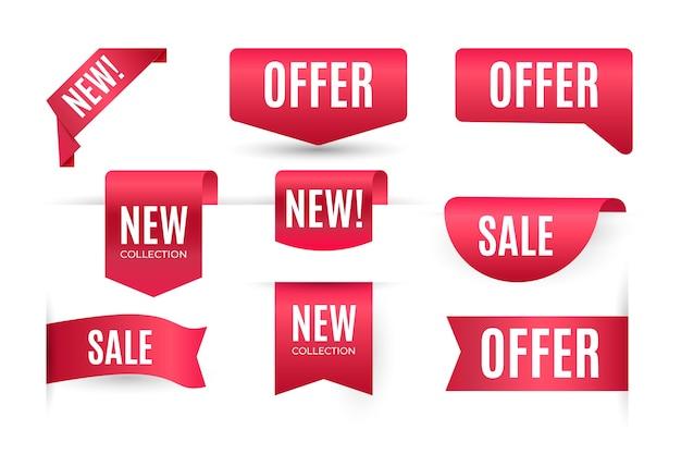 Collection D'étiquettes De Vente Rouge Réaliste Vecteur gratuit